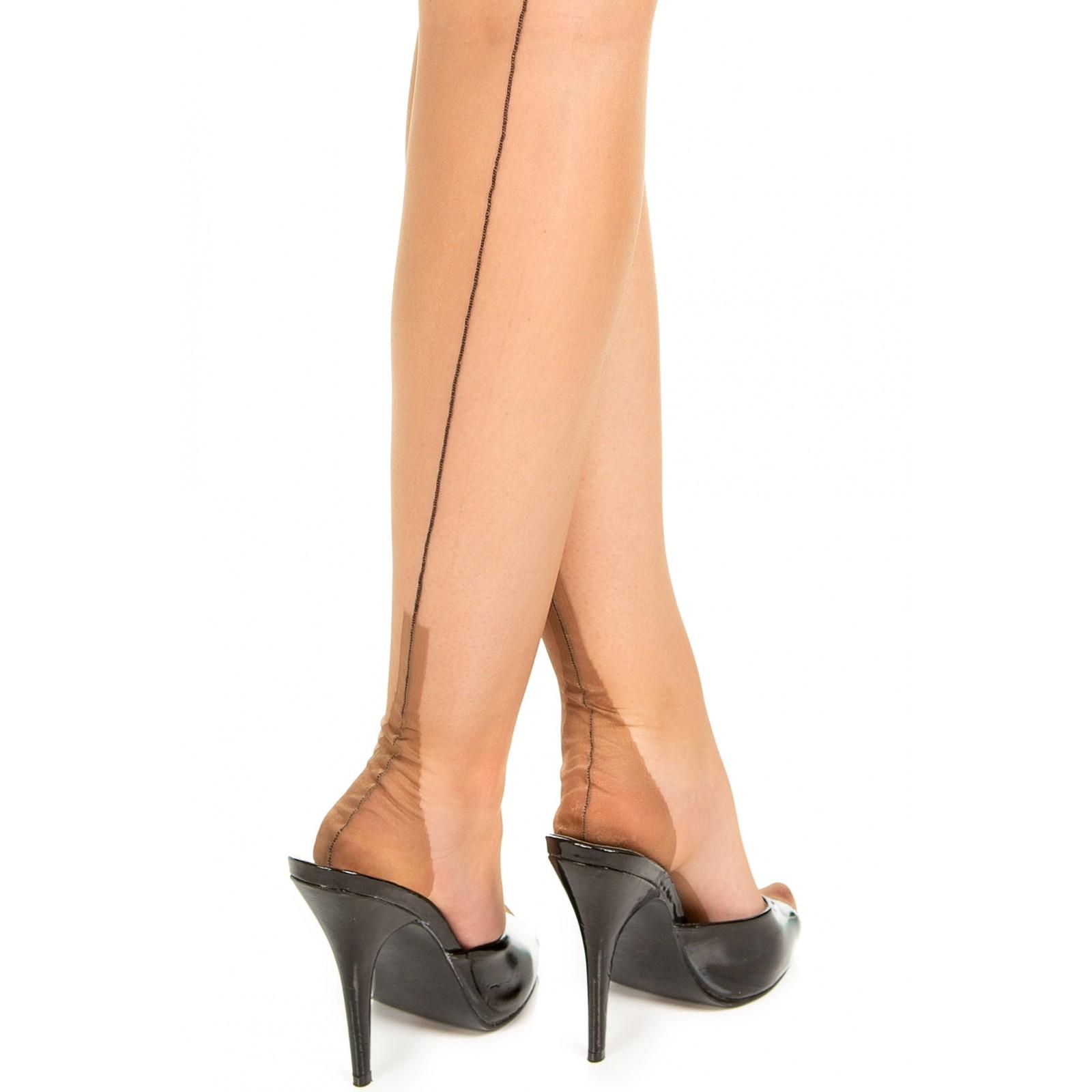 GIO FF Fully Fashioned Cuban Heel Seamed Stockings Black