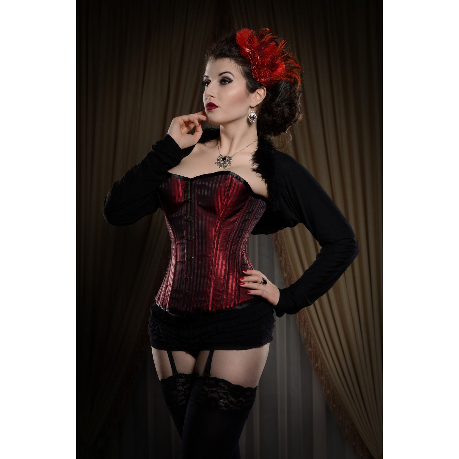 a4fe4be566 Playgirl Red Steel Boned Red Shadow Stripe Corset