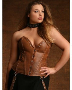 Plus Size Jules Steel Boned Tan Leather Corset
