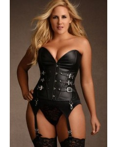 Plus Size Callista Steel Boned Black Leather Corset