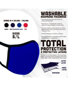 Royal Blue Neoprene Washable Face Mask With Antiviral Filter