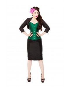 Green Silk Steel Boned Corset & Black Pencil Skirt, Bolero & Halters