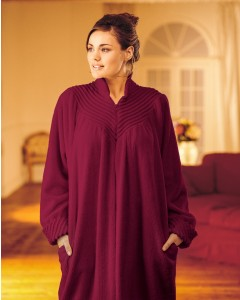 Soft Cotton Chenille Zip Dressing Gown In Loganberry