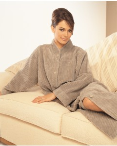 Soft Cotton Chenille Button Closure Robe In Mink