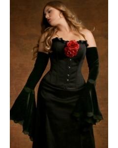 Morticia Black Duchess Satin Corset