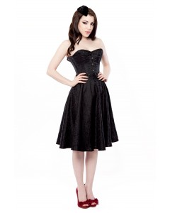 Playgirl Black Floral Brocade Circle Skirt