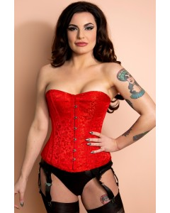Playgirl Layla Red Steel Boned Floral Jacquard Corset