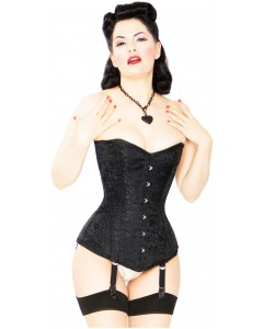 Playgirl Long Overbust Black Floral Jacquard Corset
