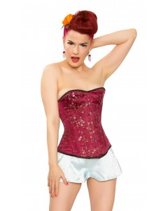 Playgirl Wine Floral Brocade Steel Boned Corset