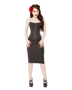 Pinstripe Corset & Pencil Skirt