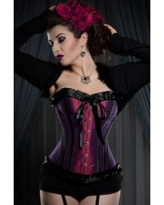 Playgirl Plum & Black Steel Boned Corset With Ribbon