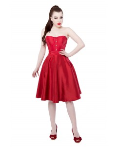 Red Tafetta Corset Dress With Long Corset