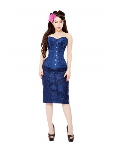 Royal Blue Brocade Corset & Blue Skirt