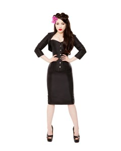 Long Black Tafetta Corset, Pencil Skirt, Bolero & Halters