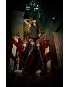 Black Cord Corset With Red Brocade & Black Boots