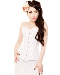 Playgirl White Pinstripe Long Overbust Corset
