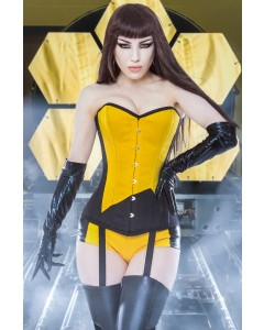 Playgirl Long Overbust Black & Yellow Steel Boned Corset