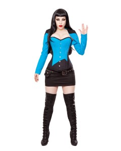 Playgirl Black & Blue Cotton Bolero Shrug Top