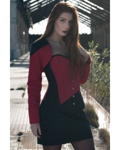 Playgirl Long Overbust Black & Red Steel Boned Corset