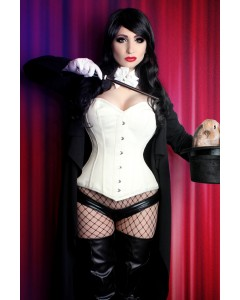 Playgirl Long Satin Overbust Ivory Steel Boned Corset