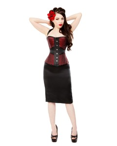 Red Leaf Brocade Corset & Black Satin Pencil Skirt