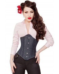 Playgirl Long Denim Steel Boned Corset Cincher