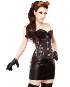 Playgirl Black Steampunk Corset with silver details