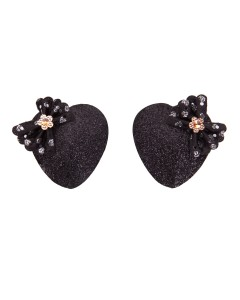 Black Glittery Nipple Pasties With Bows