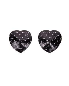Rhinestone Heart Black Nipple Pasties