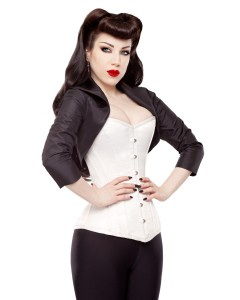 Playgirl Black Tafetta Fitted Bolero Shrug Top