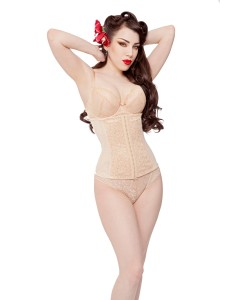 Playgirl Nude Steel Boned Lace & Power Mesh Cincher