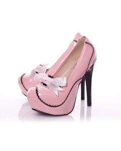 Playgirl Patent Rounded Toe Platform Pump In Pink With Black Contrast