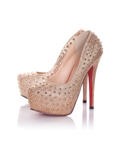 Playgirl Gold Glitter Shoes With Stud Detail