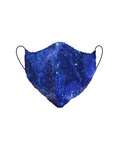 Blue Sequin Fitted Face Mask