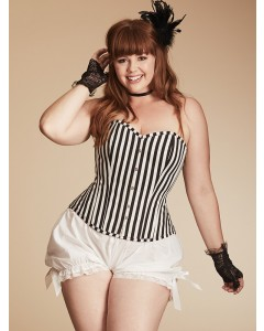 Plus Size Paloma Stripped Cotton Steel Boned Corset