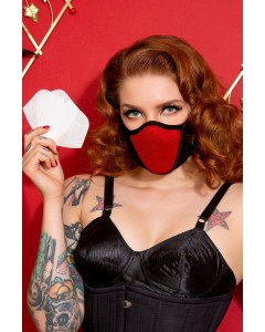3 Red Cotton & Lycra Breath Easy Face Masks With HEPA Filter